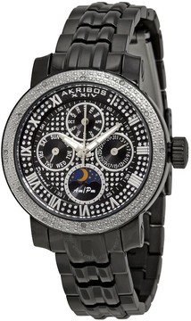 Akribos XXIV Grandiose Diamond Multi-Function Black IP Steel Ladies Watch AK614BK