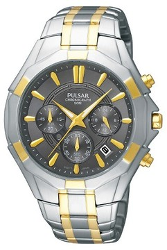 Pulsar Men's Chronograph Watch - Two Tone with Charcoal Dial - PT3200
