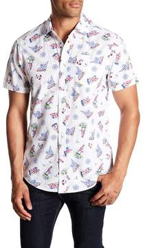 Report Collection Seaside Printed Short Sleeve Slim Fit Shirt