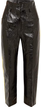 Petar Petrov Striped Crinkled Patent-leather Straight-leg Pants - Black