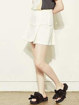 Blank Pleats Skirt-wh