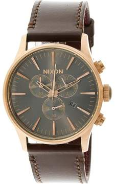 Nixon Men's Sentry Chrono Leather A4052001 Brown Quartz Fashion Watch