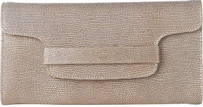 Lk Bennett Laura metallic lizard-effect leather clutch