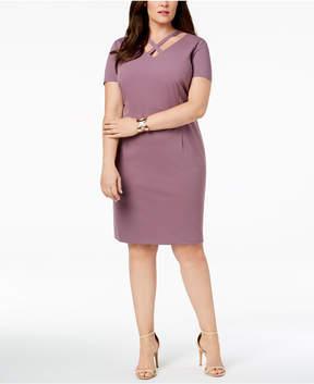 Connected Plus Size Crisscross Sheath Dress