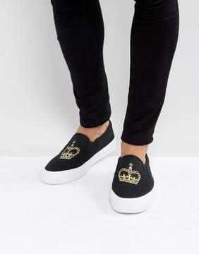 Asos Slip On Sneakers In Black Canvas With Crown Embroidery