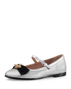 Gucci Metallic Leather Mary Jane Flat, Silver, Youth