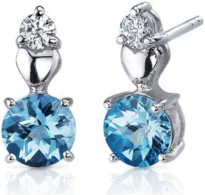 Ice 2 CT TGW Swiss Blue Topaz Sterling Silver Earrings with CZ Accents