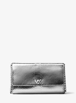 Michael Kors Mott Metallic Embossed-Leather Clutch - SILVER - STYLE