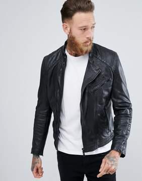 MANGO Man Leather Biker Jacket