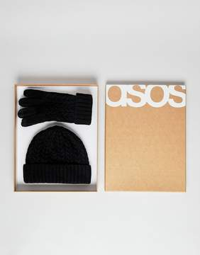 Asos Lambswool Fisherman Beanie & Gloves Boxed Gift Set In Black