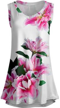 Lily White & Pink Lilies Sleeveless Tunic - Women & Plus