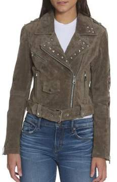 Driftwood Embroidered Studded Leather Moto Jacket