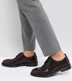 Asos Wide Fit Lace Up Derby Shoes In Burgundy Leather With Ribbed Sole