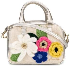 Simonetta floral appliqué shoulder bag