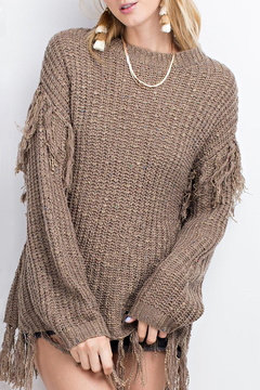 Easel Boho Fringe Sweater
