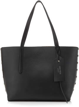 Jimmy Choo TWIST EAST WEST Black Smooth and Grainy Calf Leather Tote Bag