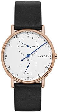 Skagen Men's Signatur Black Leather Strap Watch 40mm