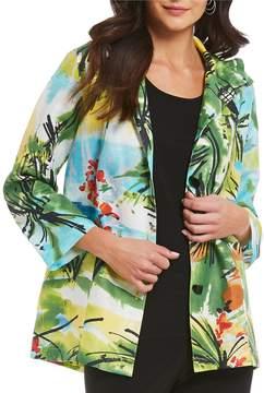 Caroline Rose Print Linen Jacket