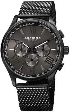 Akribos XXIV Mens Black Strap Watch-A-844bk