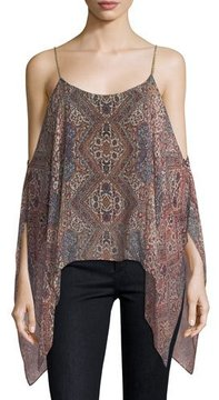 Ella Moss Casablanca Tapestry Cold-Shoulder Silk Top