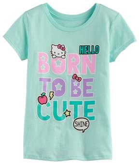 Hello Kitty Girls 7-16 Born to be Cute Glitter Graphic Tee