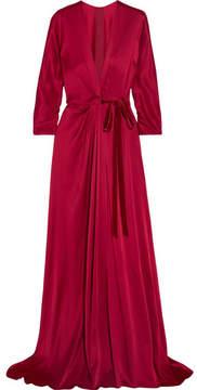 Jenny Packham Velvet-trimmed Satin-crepe Wrap Gown - Red