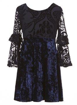 My Michelle Big Girls 7-16 Velvet Long-Sleeve Dress