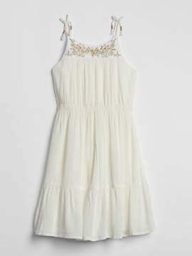 Gap Embroidery Crinkle Tiered Dress