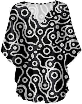 Lily Black & White Abstract V-Neck Tunic - Women & Plus