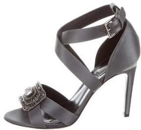 Alberta Ferretti Embellished Satin Sandals
