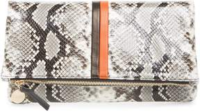 Clare Vivier Python Embossed Leather Foldover Clutch