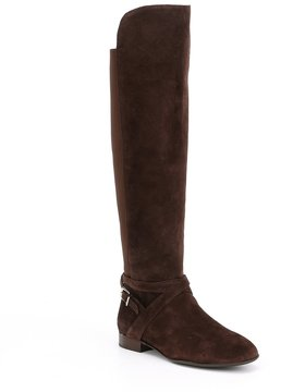 Antonio Melani Pesha Suede Strap Buckle Detail Over the Knee Riding Boots