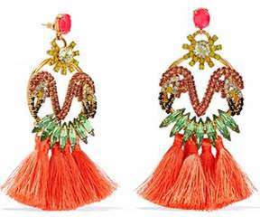 Elizabeth Cole 24-Karat Gold-Plated Swarovski Crystal Stone And Tassel Earrings