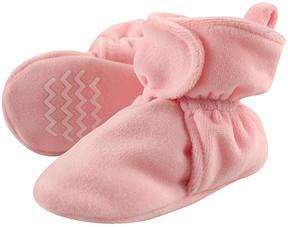 Hudson Baby Light Pink Velour Non-Skid Fleece Booties - Girls