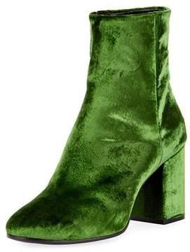 Balenciaga Velvet Zip-Up Block-Heel Bootie, Vert Irlandais