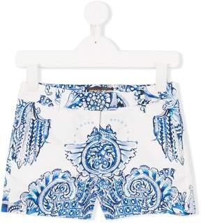 Roberto Cavalli baroque print tailored shorts