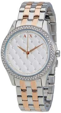 Armani Exchange Hampton Silver Quilted Dial Ladies Watch