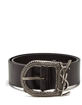 Saint Laurent Western logo-embellished leather belt
