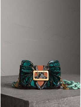 Burberry The Ruffle Buckle Bag in Snakeskin and Velvet - TEAL - STYLE