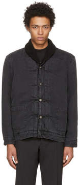 Levi's Levis Made and Crafted Black Denim Shawl Collar Trucker Jacket