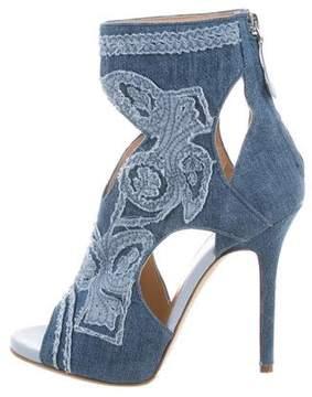 Ermanno Scervino Denim Peep-Toe Ankle Boots