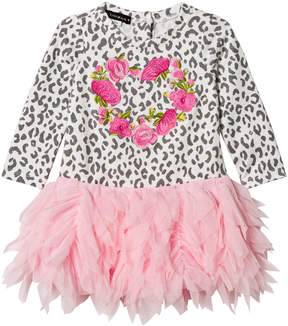 Kate Mack Biscotti Leopard Print and Rose Heart Tulle Skirt