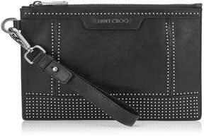 Jimmy Choo DEREK MINI/ID Black Satin Leather Clutch with Mini Studs