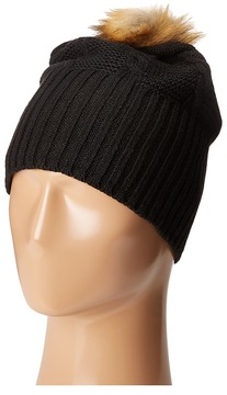 Plush Fleece-Lined Faux Fur Pom Pom Hat Cold Weather Hats