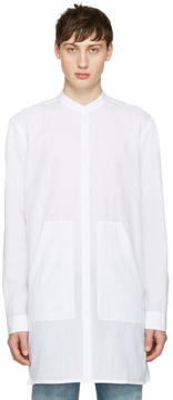 Helmut Lang White Long Mandarin Shirt
