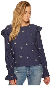 J.o.a. Embroidered Blouson Sleeve Top Women's Clothing