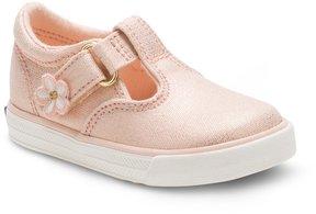 Keds Girls' Daphne Textile T-Strap Hook-and-Loop Flower Detail Sneakers