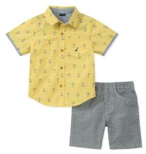 Nautica Little Boy's Two-Piece Anchor-Print Shirt and Striped Shorts