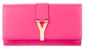 Saint Laurent Chyc Leather Clutch - PINK - STYLE