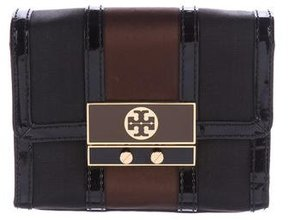 Tory Burch Leather-Trimmed Flap Clutch - BLACK - STYLE